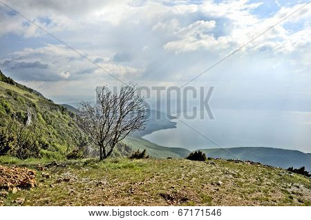 A view to lake Ohrid from a mountain