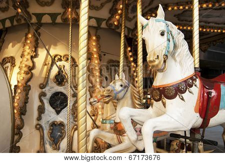 Merry-go-round With Horses In Warm Tone