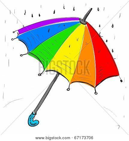 Rainbow umbrella under the rain