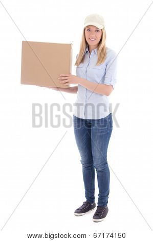 Post Delivery Service Woman Isolated On White