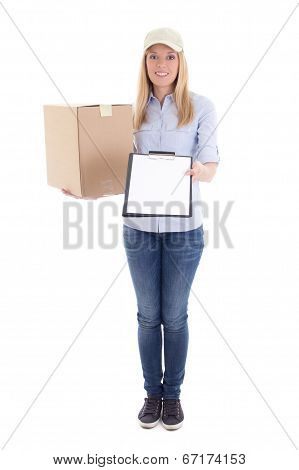 Post Delivery Service Woman With Cardboard Box And Blank Clipboard Isolated On White