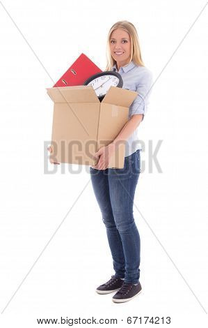 Young Beautiful Woman With Cardboard Box Ready For Moving Day Isolated On White