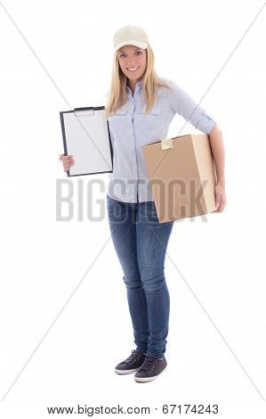Post Delivery Service Woman Holding Blank Clipboard And Parcel Isolated On White
