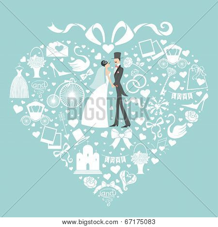 Hearts Composition.design With Wedding Clothers