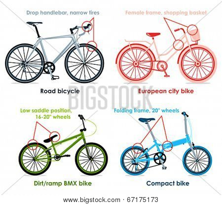 Modern road bicycle, urban, folding and BMX bikes infographics