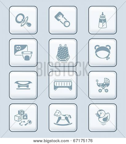 Newborn and first years baby objects icon-set in gray