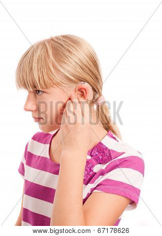Profile Of A Handicapped Girl With Hearing Aid