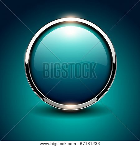 Shiny button blue glossy metallic, vector illustration