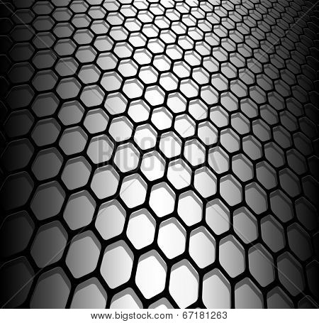 Abstract background, 3D hexagons black and white, vector illustration.