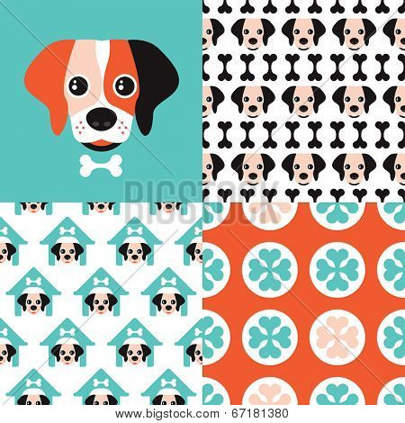 Seamless kids dog pattern set and cute retro color puppy cover illustration background in vector