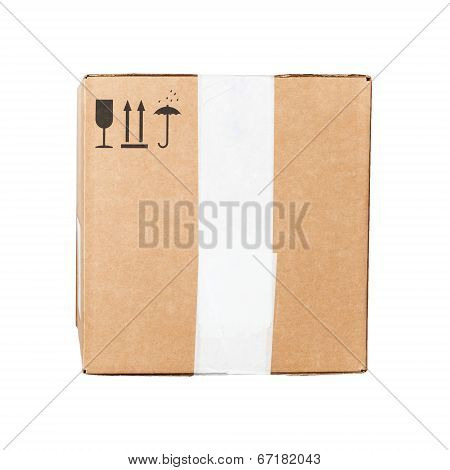 Cardboard Box With Black Signs Isolated On White Background