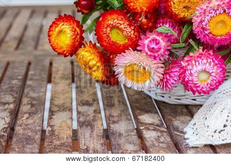 Bouquet Of Everlasting Flowers On Table