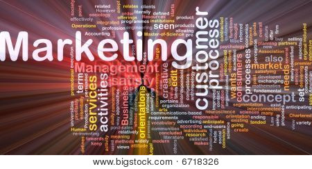 Marketing Word Cloud Glowing