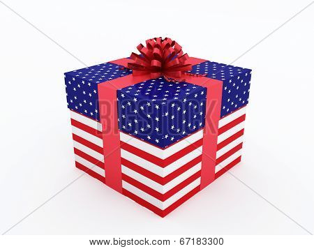 Gift box with American flag texture