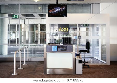Brussels Airport.desk At Gate In Zaventem Airport On May 25 In Brussels