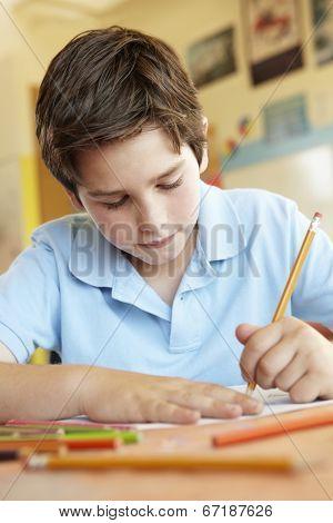 Pre teen boy in art class