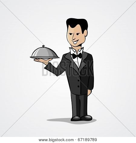 Waiter with a tray isolated on white background