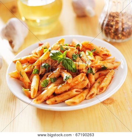 penne pasta smothered in tomato sauce