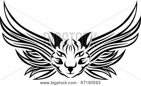 Head of cat with wings