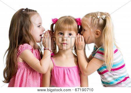 Kids Girlfriends Sharing A Secret Isolated