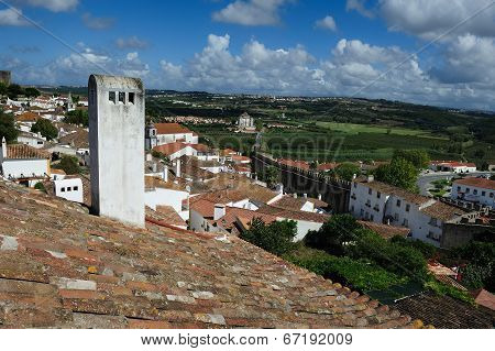 Rooftops Of The Houses Within Castle Walls, Obidos, Portugal