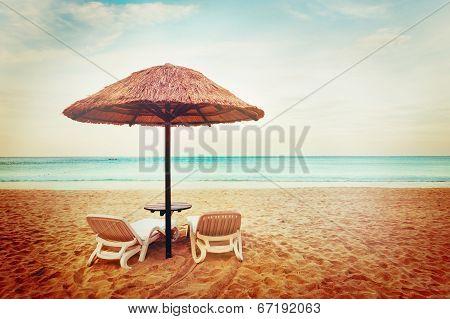Tropical Beach View. Two Beach Chairs.