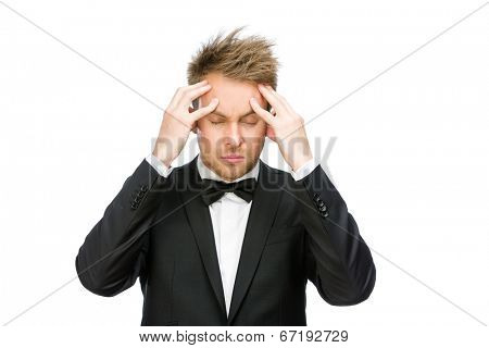 Half-length portrait of businessman with closed eyes putting hands on head, isolated on white. Concept of headache and high temperature