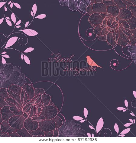 Floral frame with bird and flower dahlia. Element for design.