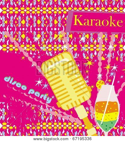 Banner With Microphone - Karaoke Party Design