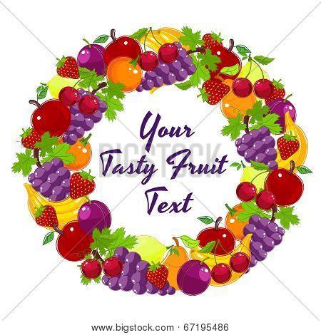 Colorful wreath of fresh fruit