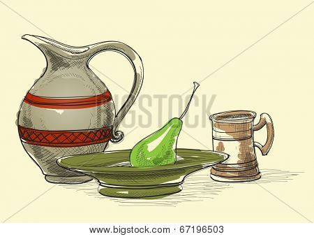 Still life vector, jug, plate and pear, cup. Kitchen items decoration