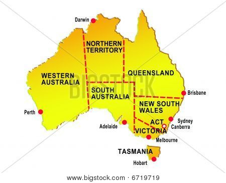 map of australia showing eight states and major cities