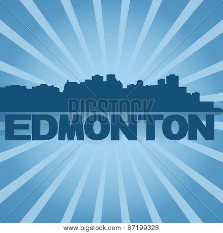 Edmonton skyline reflected with blue sunburst illustration