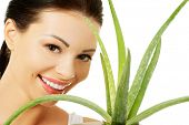 image of aloe-vera  - Spa woman with aloe vera - JPG