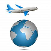 stock photo of longitude  - Airplane flying around the world - JPG