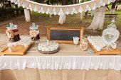 picture of buffet  - Buffet with refreshing beverages at a wedding out of the church - JPG