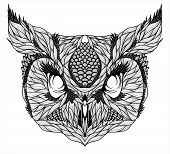 stock photo of screech-owl  - OWL head tattoo - JPG