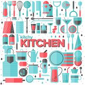 picture of food preparation tools equipment  - Flat icons set of kitchen utensils and collection of cookware cooking tools and kitchenware equipment serve meals and food preparation elements - JPG