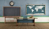 stock photo of green wall  - Vintage classroom with blackboard teacher - JPG