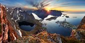 picture of reining  - Nature panorama mountain landscape at sunset Norway - JPG