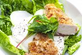 stock photo of kohlrabi  - chicken meat with kohlrabi and garlic sauce - JPG