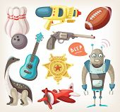 image of ukulele  - Set of toys for children and some inventory for sports - JPG