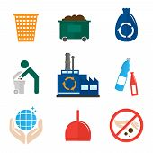 stock photo of dumpster  - Garbage recycling icons flat set of waste bin dumpster hygienic bag isolated vector illustration - JPG