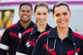picture of paramedic  - confident young paramedic team in front of ambulance - JPG