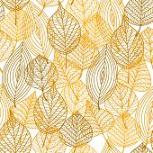 stock photo of orange  - Autumnal leaves seamless pattern in yellow - JPG