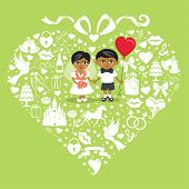 picture of wedding feast  - Composition in the shape of heart with bow on top - JPG