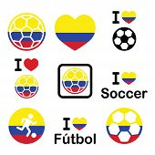 foto of offside  - Soccer ball with flag of Colombia vector icons set isolated on white - JPG