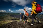 picture of descending  - Group of hikers descending on friable ground in the caldera of volcano of Batur - JPG