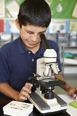 pic of microscope slide  - Boy in science class with microscope - JPG