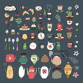 picture of crockery  - Large set of vector hand drawn teacups  teapots  samovar  jugs  cutlery  pastries  croissants  bagels and sweets on a dark grey background in square format - JPG